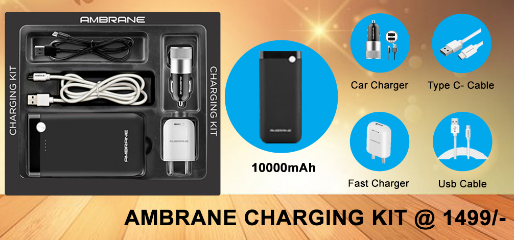 Image result for AMBRANE COMBO KIT (Power Bank + Car Charger + USB Wall Charger + Type-C USB Cable + Micro USB Cable)